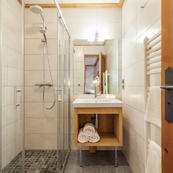 Chalet Foehn contemporary shower rooms on the ground floor.