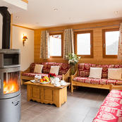Chalet L'Erine, always warm and inviting with its wood burner.