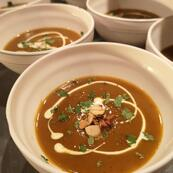 A warm and welcoming soup starter to welcome you back off the slopes