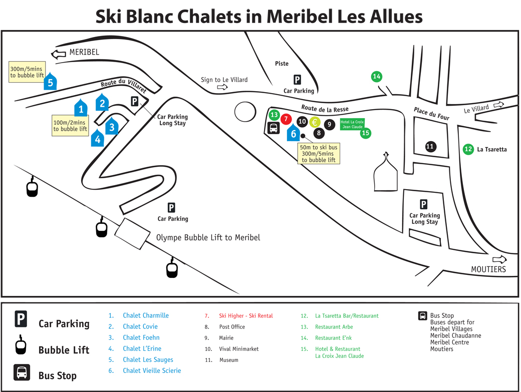 Directions to our chalets in Meribel Les Allues