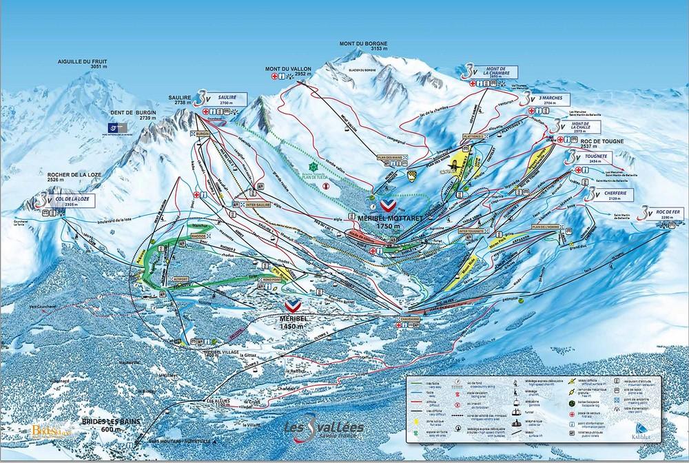 Resort map meribel skiing area location of our meribel - Office du tourisme brides les bains location ...